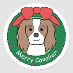 Navidad arrogante del perro de aguas de rey Charle Pegatina Redonda