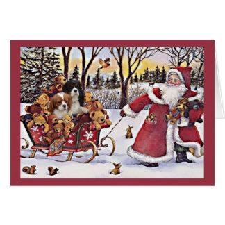 Navidad arrogante Santa del perro de aguas de rey Tarjeta De Felicitación