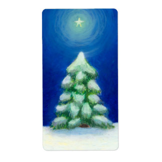 Navidad arte día de fiesta tarjeta árbol nieve 25  etiquetas de envío