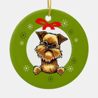 Navidad áspero de la capa de Bruselas Griffon Adorno Redondo De Cerámica