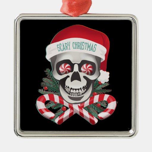 Navidad asustadizo adorno cuadrado plateado