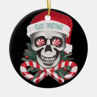 Navidad asustadizo adorno redondo de cerámica
