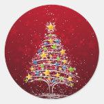 Navidad atractivo pegatina redonda