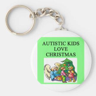 Navidad autístico del amor de los niños llaveros