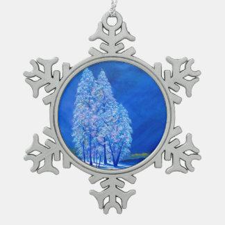 Navidad azul # 3 adorno de peltre en forma de copo de nieve