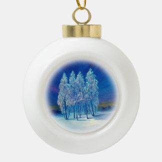 Navidad azul #4 adorno de cerámica en forma de bola