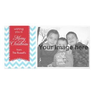 Navidad azul claro de Chevron Tarjetas Con Fotos Personalizadas