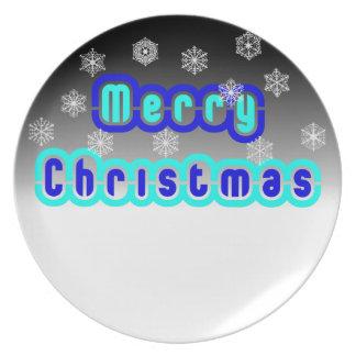 Navidad azul con los copos de nieve platos de comidas