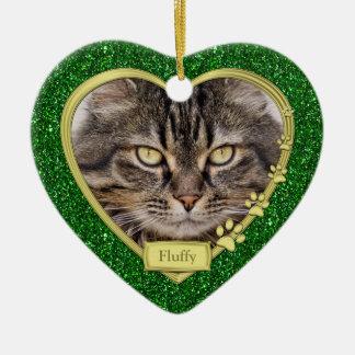 Navidad azul conmemorativo de la foto del corazón  ornamento para reyes magos