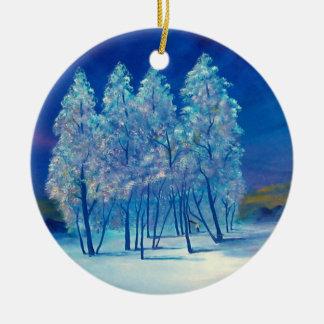 Navidad azul cuatro adorno navideño redondo de cerámica
