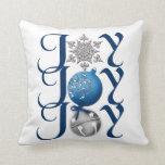 Navidad (azul) de la alegría almohada