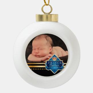 Navidad azul de la foto del príncipe bebé adorno de cerámica en forma de bola