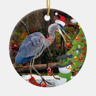 Navidad azul de la garza ornamentos de reyes magos