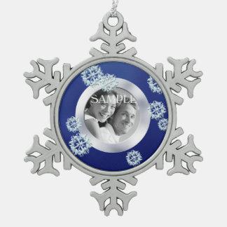 Navidad azul de la plantilla de la foto del copo adorno de peltre en forma de copo de nieve