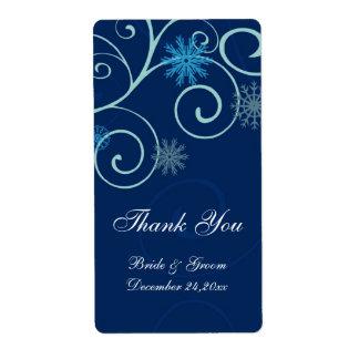 Navidad azul de los copos de nieve que casa etique etiquetas de envío