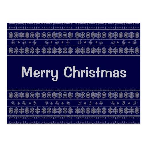 Navidad azul del modelo del copo de nieve postales
