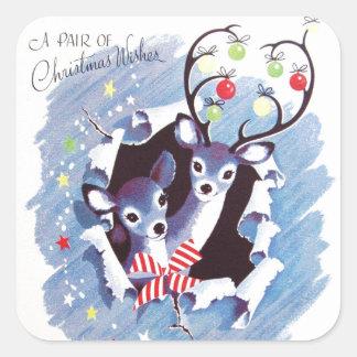 Navidad azul del reno del vintage dulce estupendo pegatina cuadrada