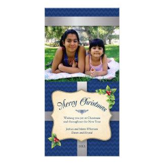 Navidad azul envuelto de Chevron del regalo Tarjetas Personales