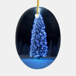 Navidad azul/estación de la luz adorno ovalado de cerámica