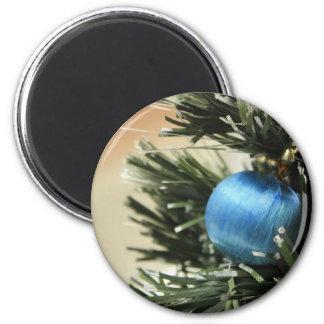 Navidad azul imán redondo 5 cm