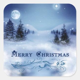 Navidad azul pegatina cuadrada