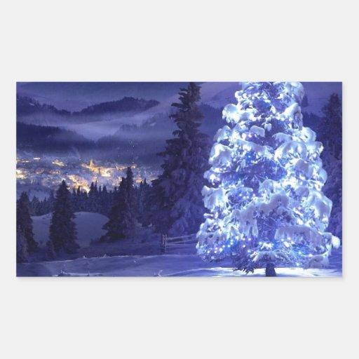 navidad azul pegatina rectangular