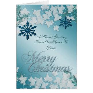 Navidad azul que saluda de nuestro hogar el suyo tarjeta de felicitación