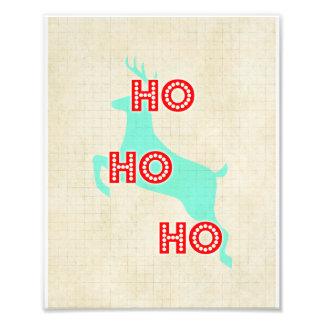 navidad azul rojo del vintage del reno del hohoho fotografía