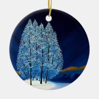 Navidad azul seis adorno navideño redondo de cerámica