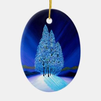 Navidad azul siete adorno navideño ovalado de cerámica