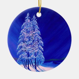 Navidad azul uno adorno navideño redondo de cerámica