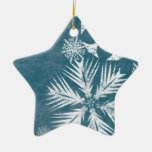 Navidad azul y blanco de los copos de nieve ornatos