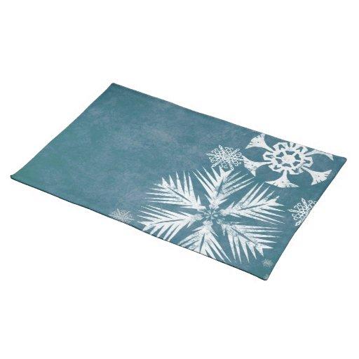 Navidad azul y blanco de los copos de nieve manteles individuales