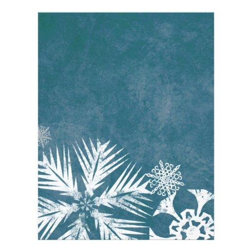 Navidad azul y blanco de los copos de nieve plantilla de membrete