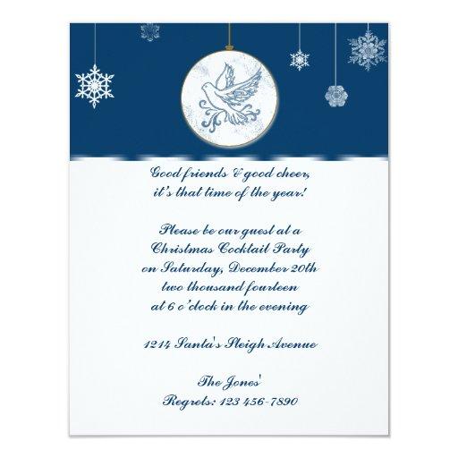 """Navidad azul y blanco del ornamento de la paloma invitación 4.25"""" x 5.5"""""""
