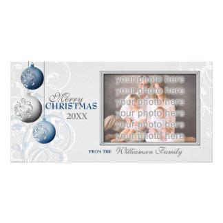 Navidad azul y de plata festivo tarjetas fotográficas