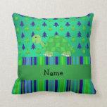 Navidad azulverde personalizado de la tortuga almohada