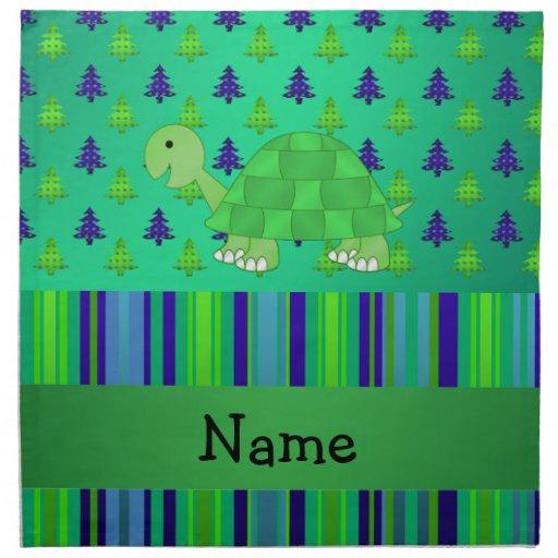Navidad azulverde personalizado de la tortuga cono servilleta