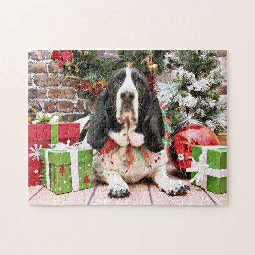 Navidad - Basset Hound - jazmín Rompecabeza Con Fotos