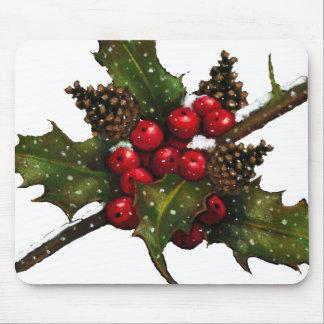 Navidad: Bayas, acebo, conos del pino: Arte Mouse Pads