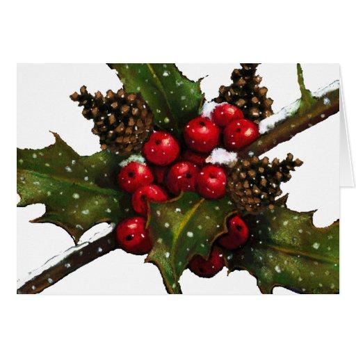Navidad: Bayas, acebo, conos del pino: Arte Tarjeta