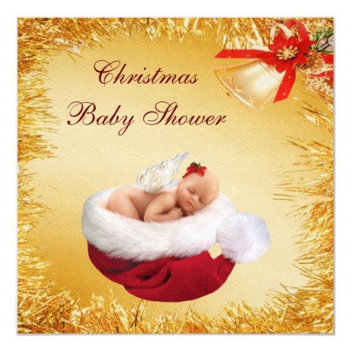 """Navidad bebé, gorra de Santa y fiesta de Invitación 5.25"""" X 5.25"""""""