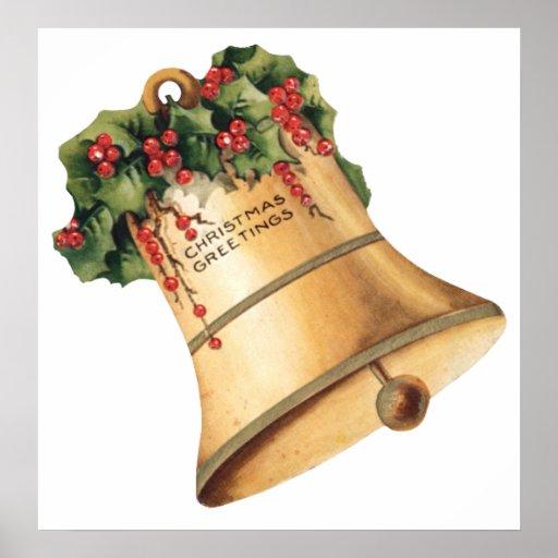 Navidad Belces de oro, los saludos del vintage de Póster