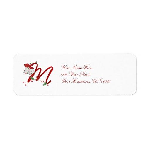 Navidad Belces del monograma M Etiqueta De Remite