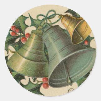 Navidad Belces del vintage y acebo Pegatina Redonda