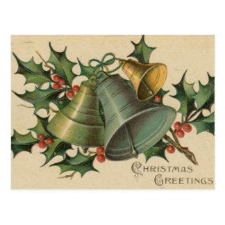 Navidad Belces del vintage y acebo Postal