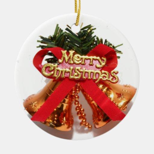 Navidad Belces y cinta Adorno Redondo De Cerámica