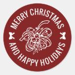 Navidad Belces y sellos del sobre del acebo Pegatinas Redondas
