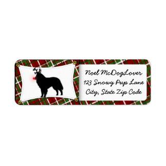 Navidad belga del reno del perro pastor etiquetas de remite