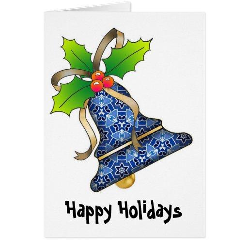 Navidad Bell con Holly-01, buenas fiestas Tarjeta De Felicitación